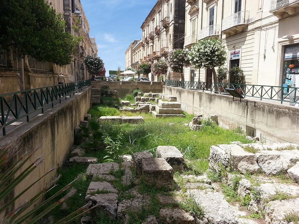Een van de opgravingen in Ortigia