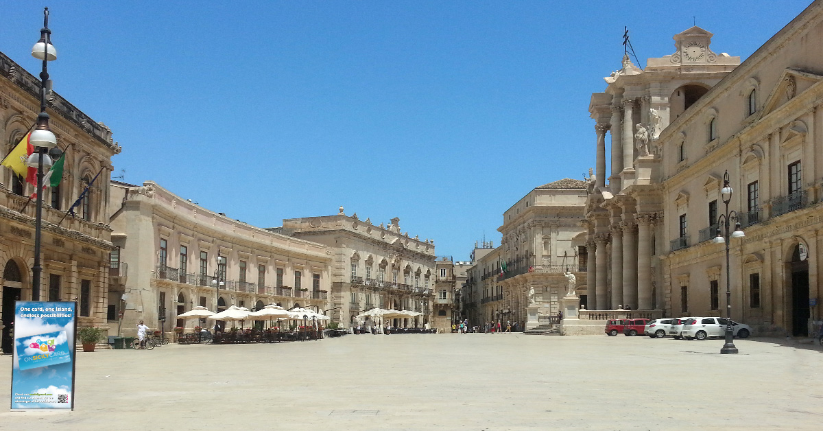 The Piazza Duomo in Ortigia