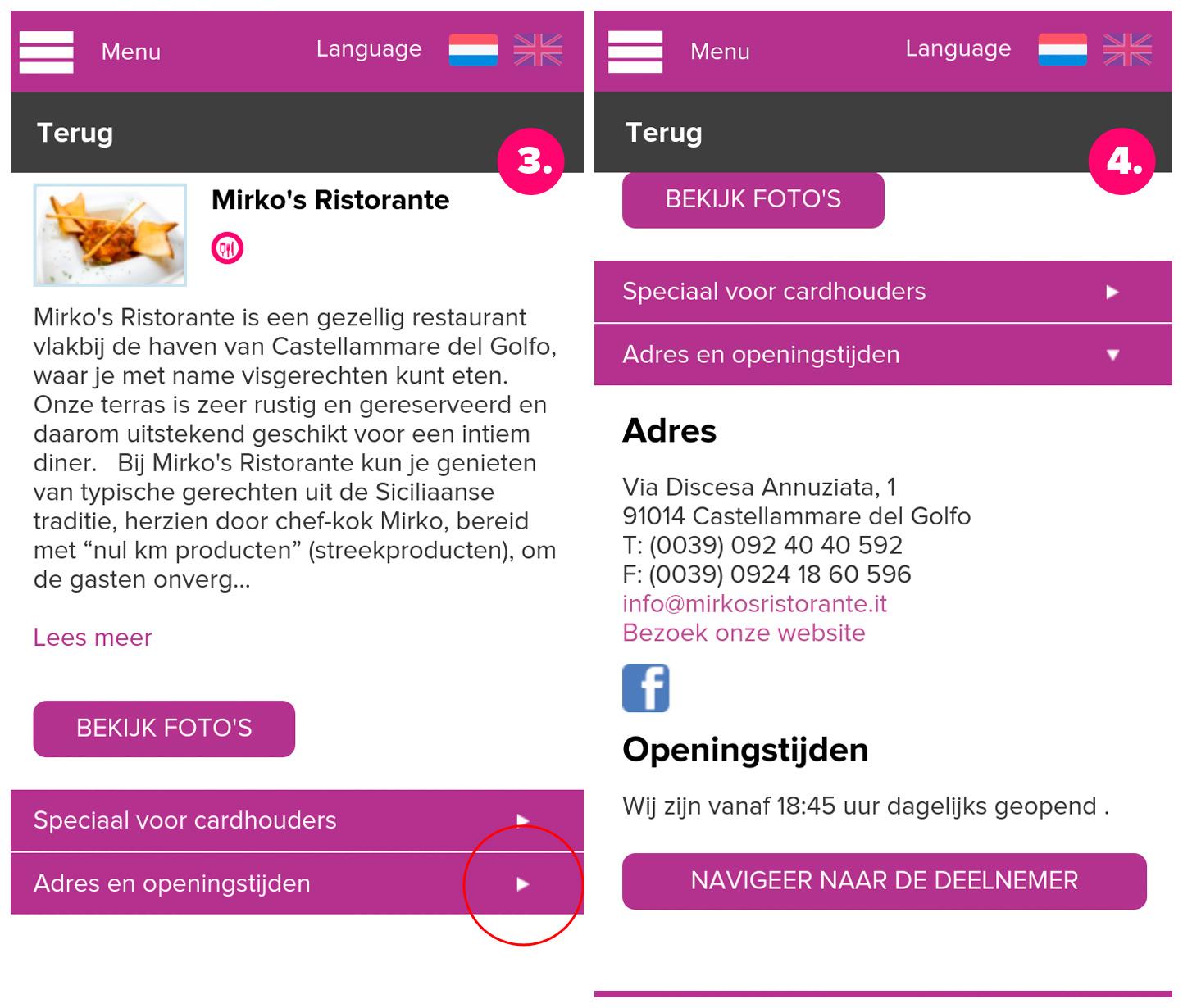 De informatiepagina van restaurant Mirko's in Castellammare del Golfo
