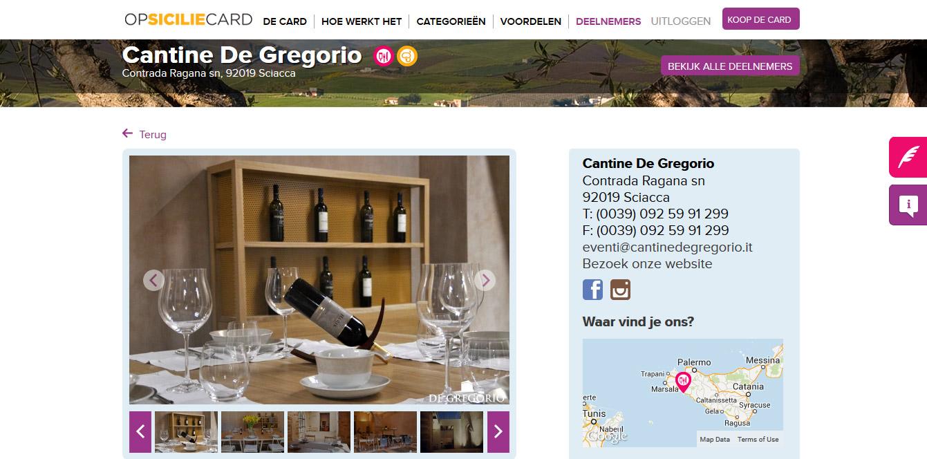 Een deel van de informatiepagina van Cantine De Gregorio in Menfi