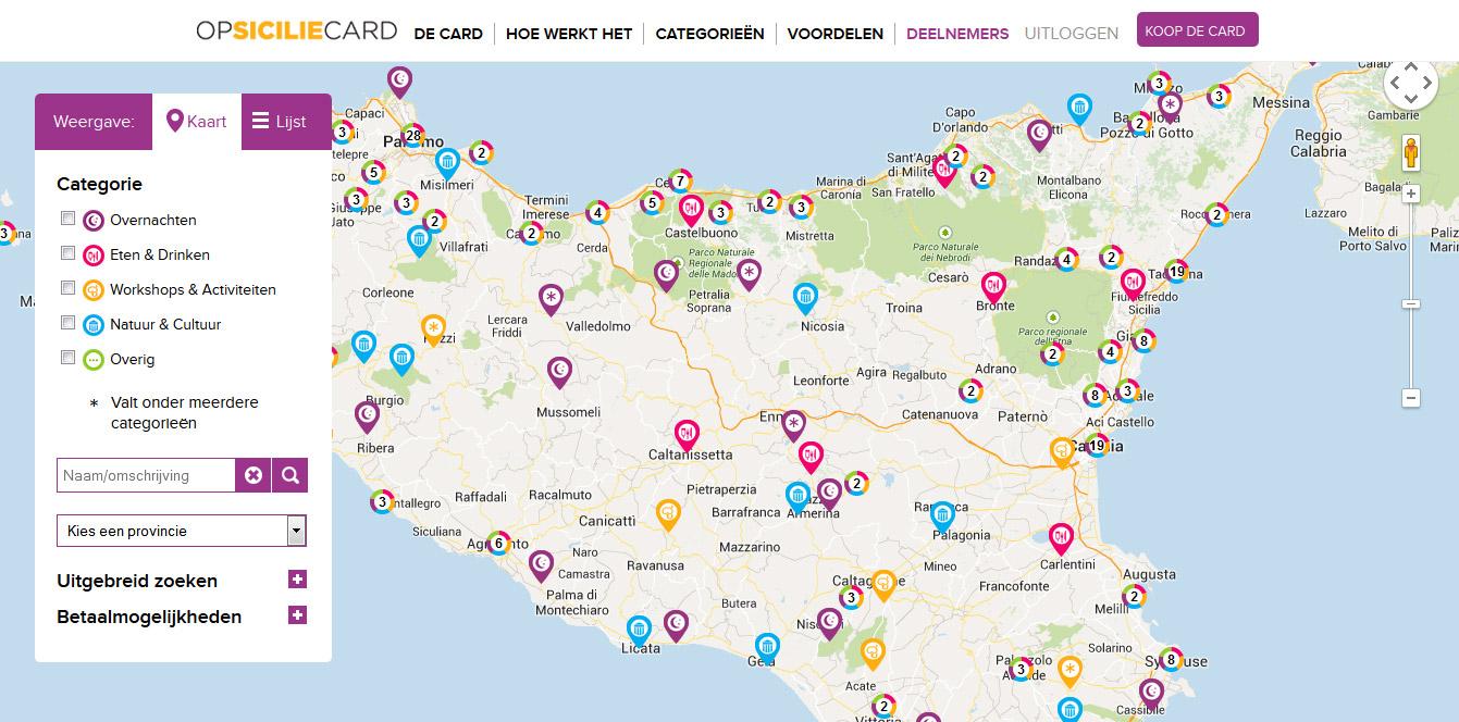 Al onze deelnemers op de kaart van Sicilië