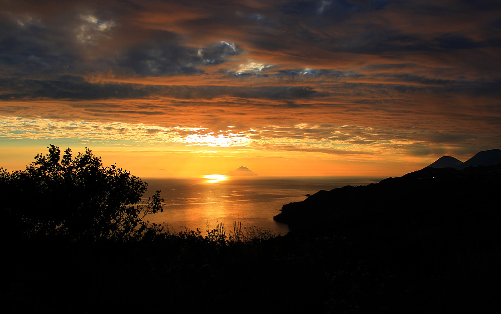 A beautiful sunset near the island of Filicudi, seen from Monte Guardia