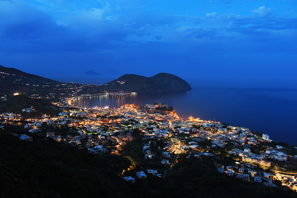 The center of Lipari by night
