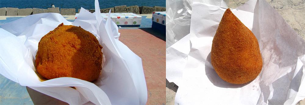 Links een arancina uit Palermo en rechts een arancino