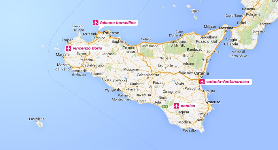 De vliegvelden op Sicilië