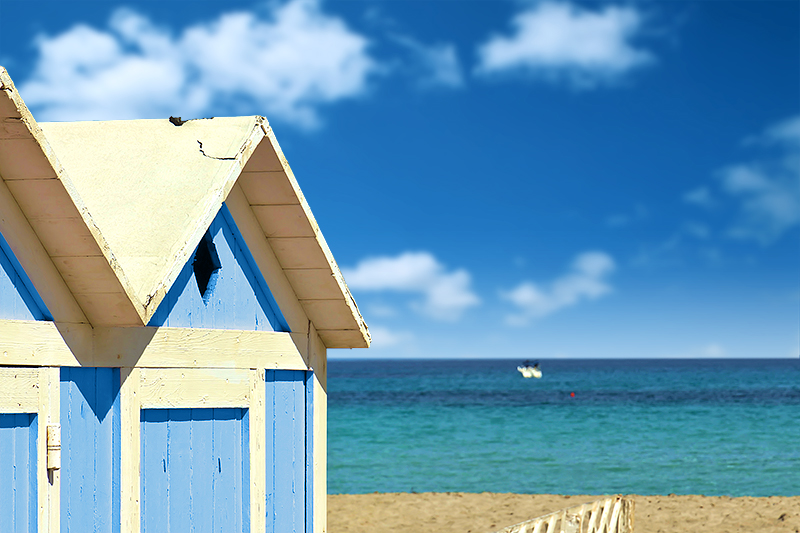 Beach cabins on the beach of Mondello, Palermo