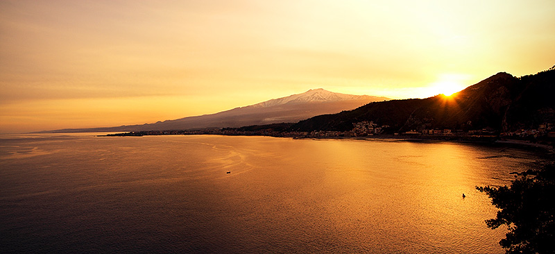 Giardini Naxos and Mount Etna, seen from Taormina