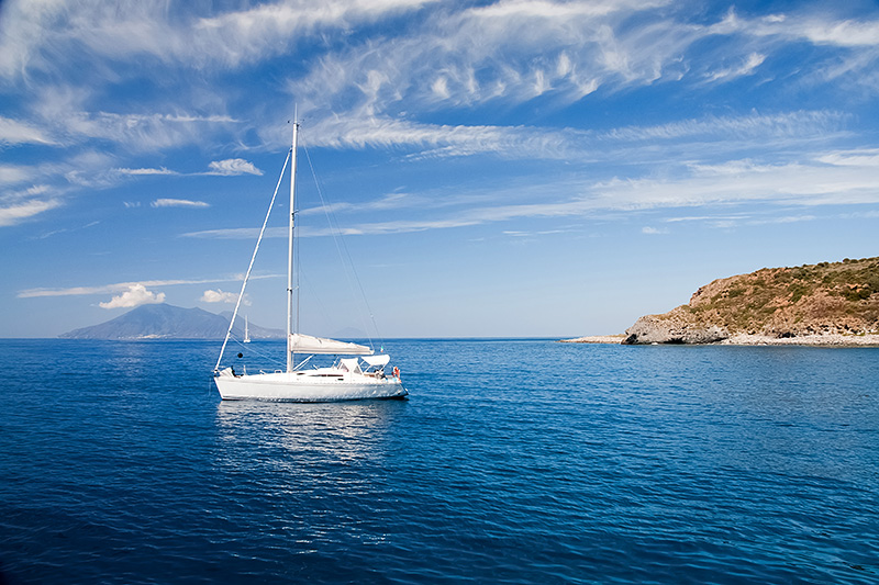 A yacht in the Tyrrhenian Sea