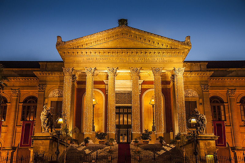 The Teatro Massimo by night