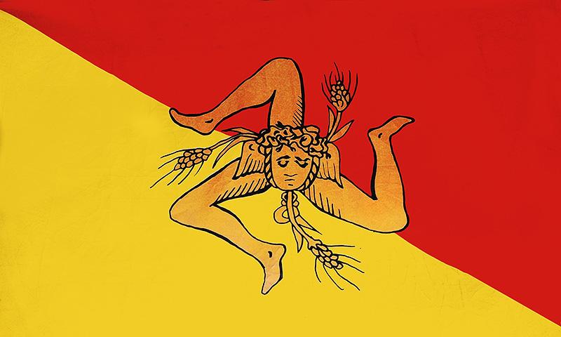 The Sicilian flag with the trinacria