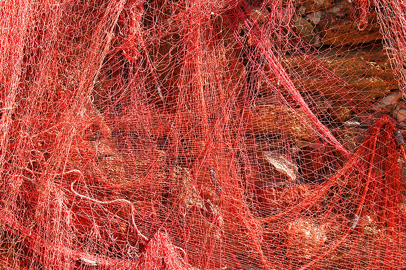 Red fishing nets in the port of Trapani