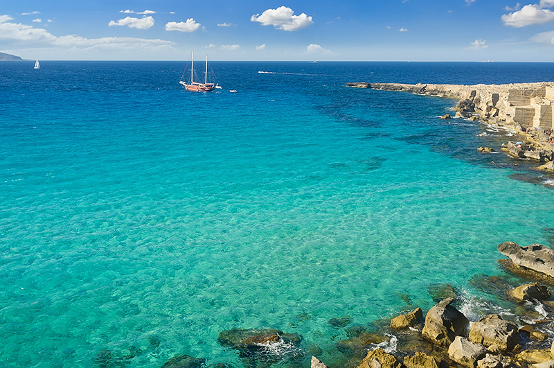 The azure sea at the island of Favignana