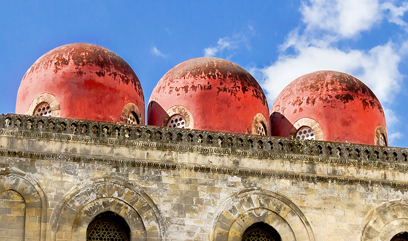 The red domes of the San Cataldo church in Palermo
