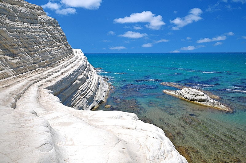 The blue sea at the Scala dei Turchi