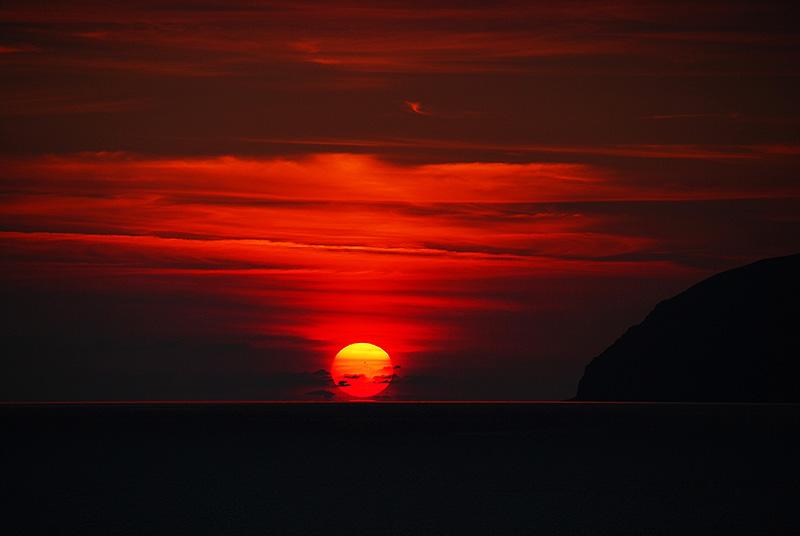Sunset near the island of Vulcano